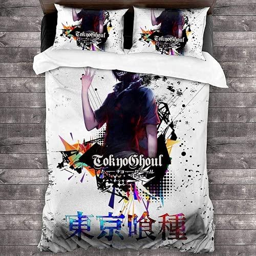 QWAS Tokyo Ghoul Juego de ropa de cama Jin Muken Tema funda de edredón hipoalergénico, 200 x 200 cm con cremallera (Ghul 7,220 x 240 cm + 80 x 80 cm x 2)