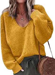 Womens Sweaters Waffle Knit Batwing Sleeve V-Neck Baggy Tops