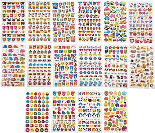 3D Aufkleber Motiv Sticker [800 Stück] für Kinder Kleinkinder Babys Mädchen Junge – Smileys, Tiere, Blumen, Essen, Auto, Obst, Gemüse, Süßigkeiten, Fahrzeuge Sammel-Sticker