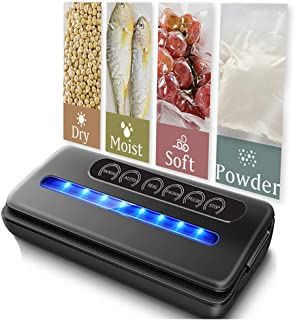 Vacuum Sealer, Automatic Vacuum Air Sealing System For Food Preservation, Compact Design, Dry & Moist Food Modes, Led Indicator Light with 15 Sealer Bags & 1 Suction Hose (Black)