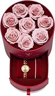 PAUL VALENTINE ® - Sweetheart Rosebox Caja de Regalo para Reloj de Mujer, Caja de Regalo con Pulsera Sleek Bracelet Faye, ...