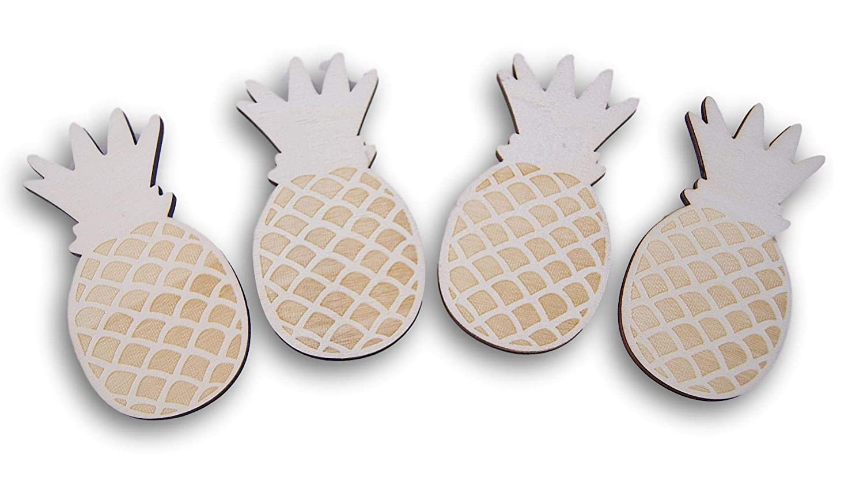 Natural Unpainted Wood Cutout - Pineapple - Set of 4
