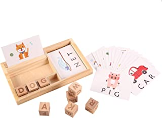 Joqutoys Wooden Educational Toys Learning Matching Letter Games and Develops Alphabet Words Spelling Skills Letter Block for Girls Boys Gift(30pcs Cards)