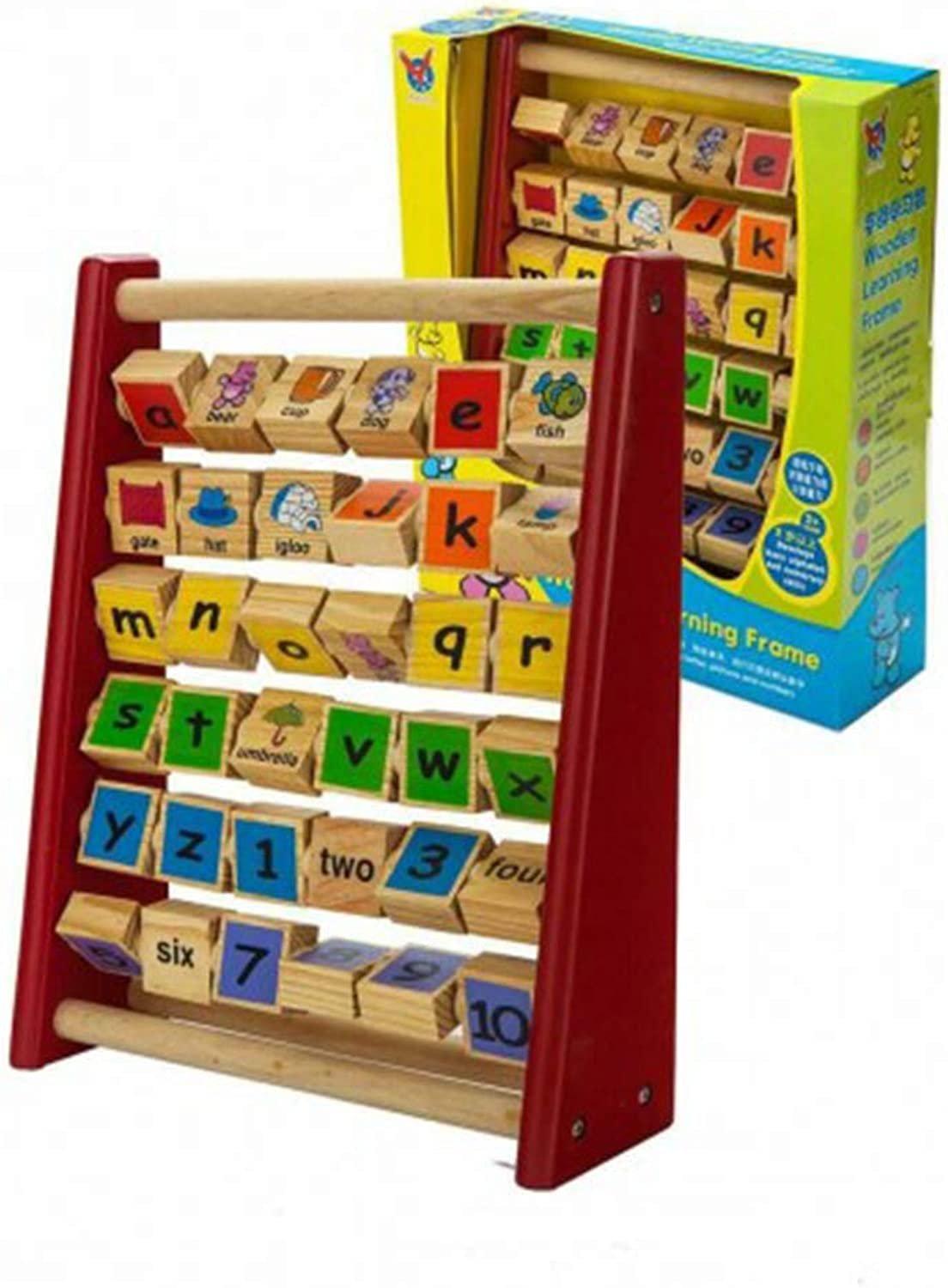 Toytexx Wooden Learning Frame with A Solid Wood Frame and 36 Cubes