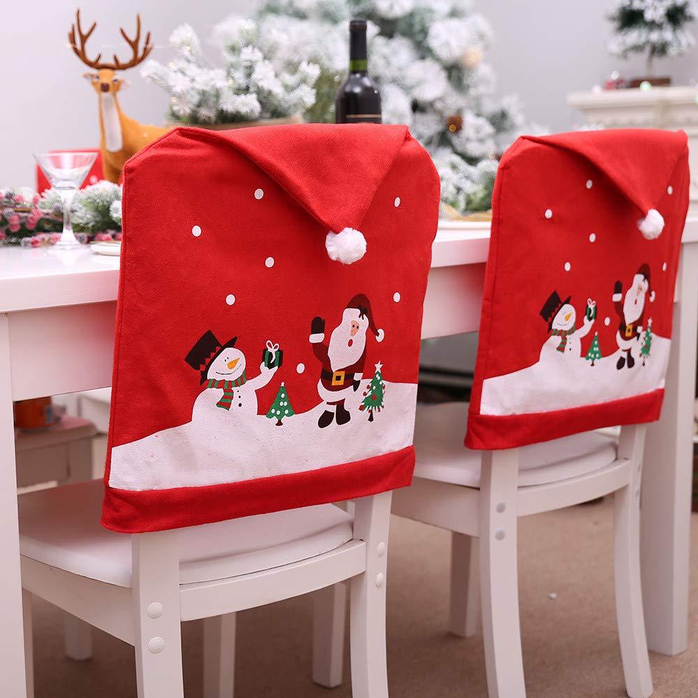 Gotian 10Pcs Santa Hat Chair Covers Kitchen Dinner Xmas Cap Party Ornament  Christmas Decor