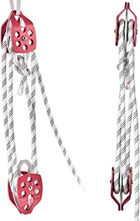 InLoveArts Twin Sheave Block and Tackle 0.43-0.5Inch 100-200Ft Twin Sheave Block with Braid Rope 30-35KN 6600-7700LBS Double Pulley Rigging