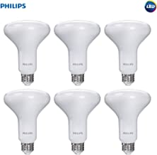 Philips LED Dimmable BR30 Frosted Light Bulb with Warm Glow Effect: 650-Lumen, 2700-2200-Kelvin, 9-Watt, Soft White, 6-Pack