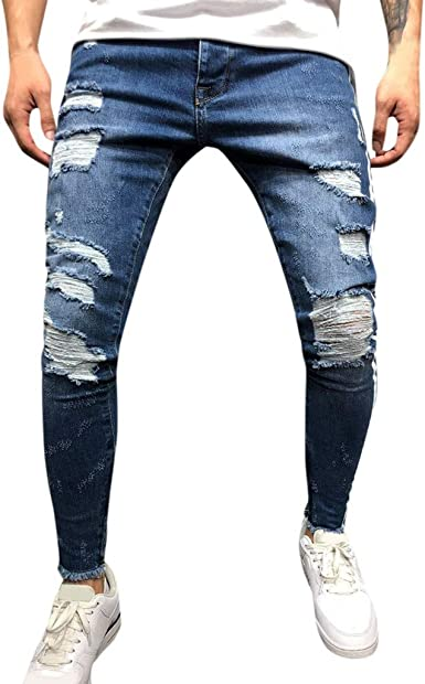 VPASS Pantalones vaqueros para Hombre,Pantalones Casuales Moda Jeans rotos trend largo Pantalones Pants Skinny Pantalon Fitness Jeans Largos ...
