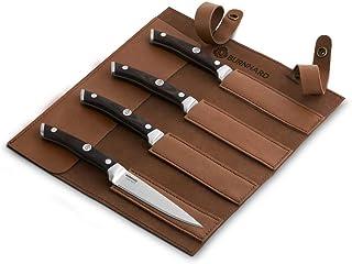 BURNHARD Cuchillo Profesional para Carne con Mango de Madera Pakka y Protector de Hoja de Cuero, Hoja de Acero al Cromo-molibdeno - Juego de 4 Cuchillos de Carne