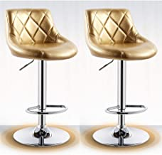 Swivel chair Bar Stools Luxury Vintage Golden Bar Chairs Breakfast Dining Stools for Kitchen Island Counter Bar Stools Set of 1/2 pcs Leatherette Exterior, Adjustable Swivel Gas Lift (PU)
