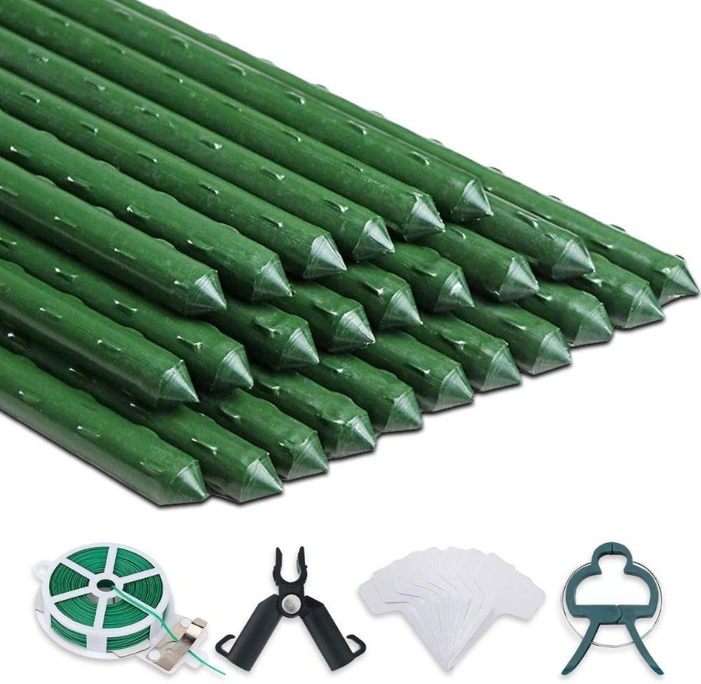 25 Plant Stakes - 4 ft inches Sturdy Plastic Elegant 48 Metal- Long Beach Mall Coated