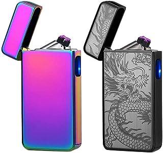 Arc Lighters 2 Pack,Dual Arc Plasma Lighter Rechargeable Electric USB Lighter lcfun Flameless Lighter Windproof Lighter,Cool Lighters (Magic & Black Dragon)