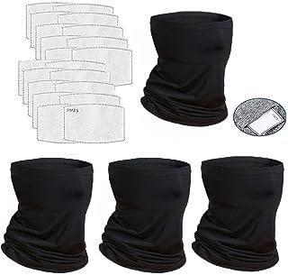 4 Pcs Neck Gaiter Face Cover Scarf with 20 Pcs Carbon...