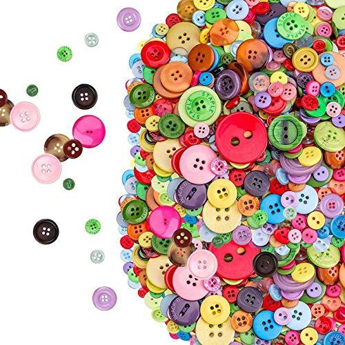 Boutons Colorés Artisanat Bouton Rond pour Enfants, Lot de 800 boutons à coudre assortis pour Toutes Les activités de Loisirs créatifs, Tricot, comptage, triage des Tailles, Multicolore