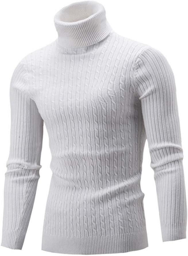 Snowfoller Winter Men Turtleneck Top Casual Slim Warm Knit High Neck Pullover Thickened Twist Jumper Sweater (White, M)