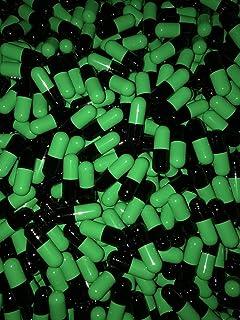 1000 Empty Gelatin Capsules Size 00 Black/Green. Hypoallergenic. Non GMO. Kosher. Halal. Manufactured in Canada.