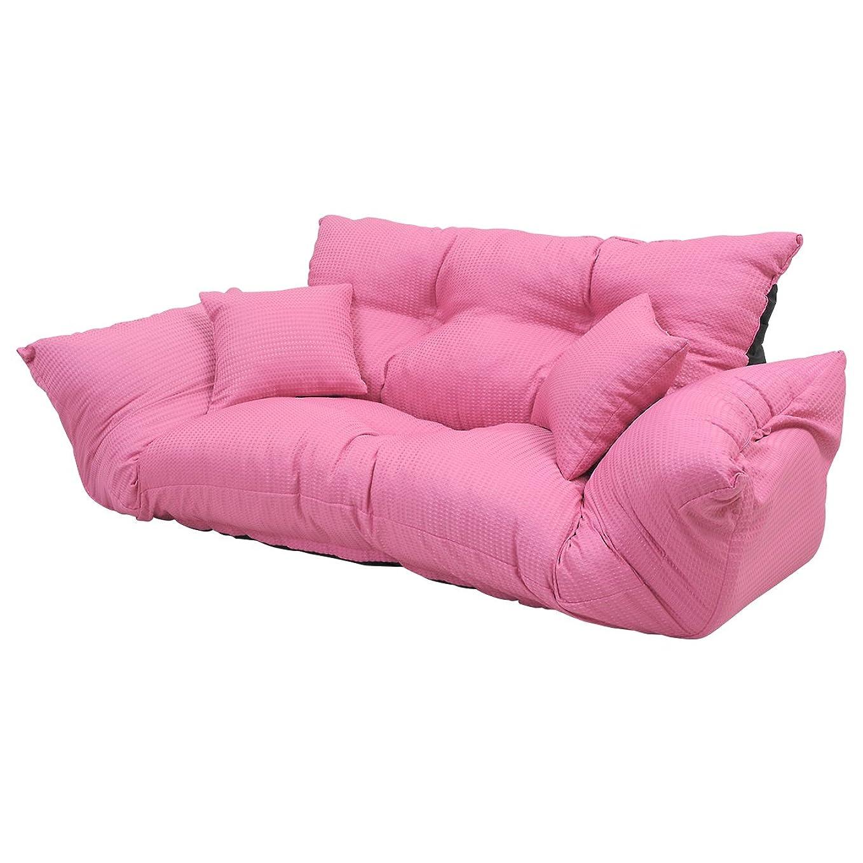 発音義務付けられた許可する7カラーシリーズ 新ジャンボカウチソファ クッション2個付 ピンク
