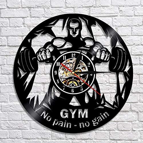 Rgzqrq Reloj de Pared de Vinilo para Fitness sin Dolor Gimnasio Fitness Levantamiento de Pesas Pared Vinilo Registro Reloj de Pared decoración 30x30cm