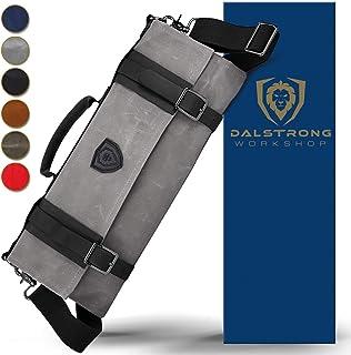 Dalstrong - Rollo de cuchillo Nomad, lona de alta resistencia y piel de grano superior, 13 ranuras, bolsillos interiores y traseros con cremallera, color gris