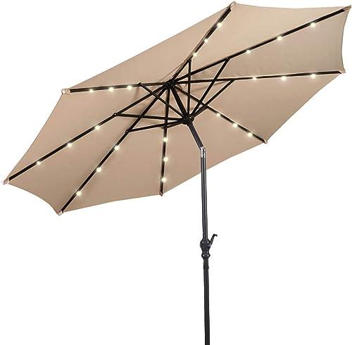 discount Giantex sale 10ft Solar Patio Umbrella Outdoor with Lights, 8 Ribs Steel Market Umbrella, Easy Push Button Tilt and Crank, 2021 Solar Table Umbrellas for Garden, Deck, Backyard, Pool Indoor Outdoor Use online sale