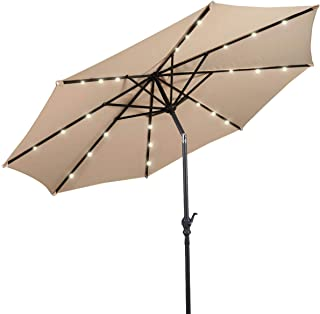 Giantex 10ft Solar Patio Umbrella Sunbrella with Lights, 8 Ribs Market Steel Tilt w/Crank for Garden, Deck, Backyard, Pool Indoor Outdoor Use (Beige NewStyle)