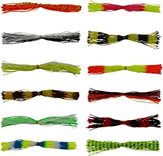ICE SEA 12 Bundles, 50 Strands Mixed Colors Premium Silicone Skirts Fishing Skirt Lures Spinnerbaits Buzzbaits Squid Rubber Jig Head Lures Fly Tying Material Line Foot Replacement