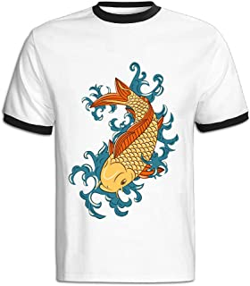 Contrast Color T Shirt 2016 Japanese Style Koi Shirts for Man