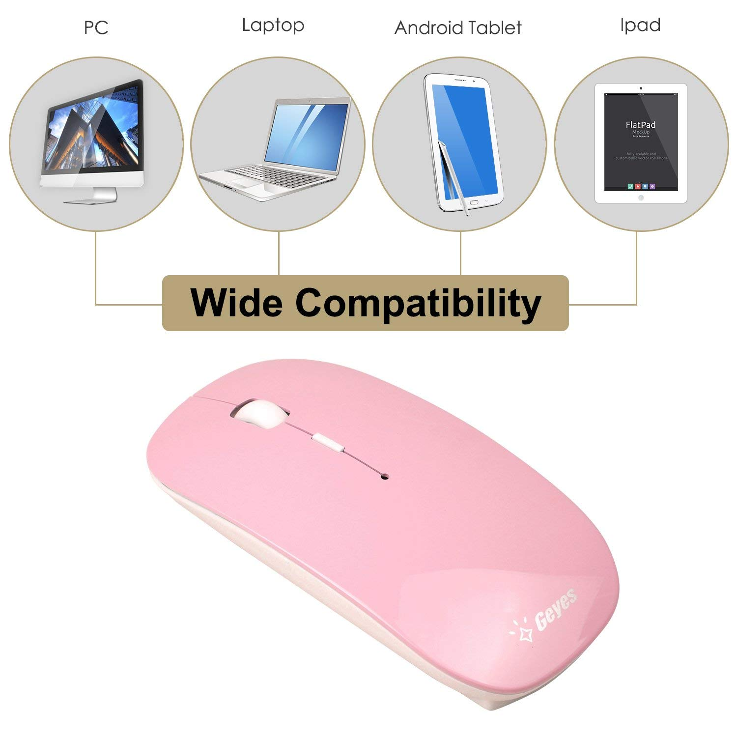Tablet VEGCOO C13 Wireless Rechargeable Mouse Slim Silent Optical Mouse with USB Receiver /& Type-C Adapter for Laptop PC MacBook Travel /& Office Desktop Computer Notebook Blue