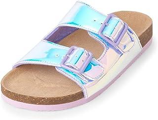 3d1708e49fee The Children s Place Kids  Holographic Double Buckle Luna Sandal Flat