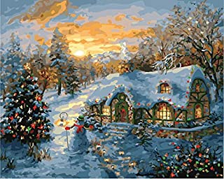 CaptainCrafts New Diy Oil Painting Paint By Numbers for Adults Beginner Linen Canvas Kits 16x20 Inch Home House Decor Gift - Forest House Christmas Morning (Frameless)