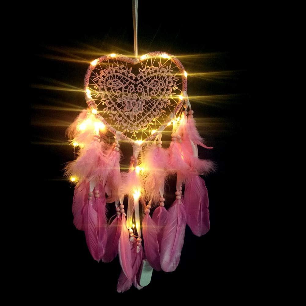 Blue LED Handmade Feathers Dream Catcher Bedroom Hanging Pendant Dreamcatcher Decorative Night Lamp Birthday Gift NioEsho Dream Catchers Wall Hanging Decoration//Girl Room Decor