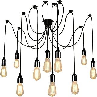 Lightess Spider Pendant Lighting 10-Heads Edison Chandelier Vintage Multiple Adjustable DIY Ceiling Light Kit, CY-B10