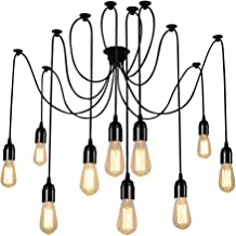 Lightess Spider Pendant Lighting 10-Heads Edison Chandelier Vintage Multiple Adjustable DIY Ceiling Light Kit, CY-B10