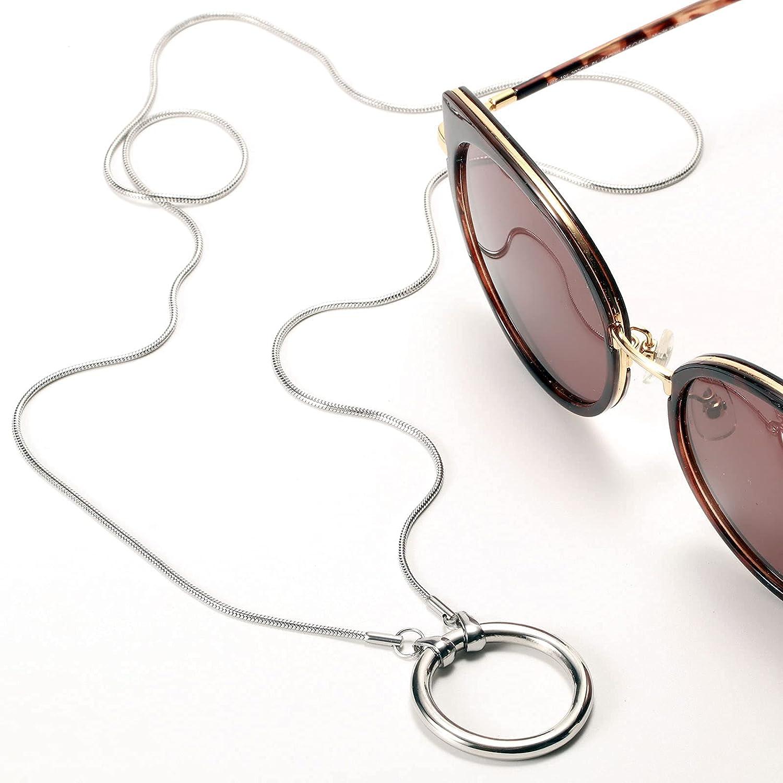 JOJOPANDA Glasses Necklace Eyeglass Holder Ring Chain Cord Sunglasses Strap Stainless Steel Polishing Loop