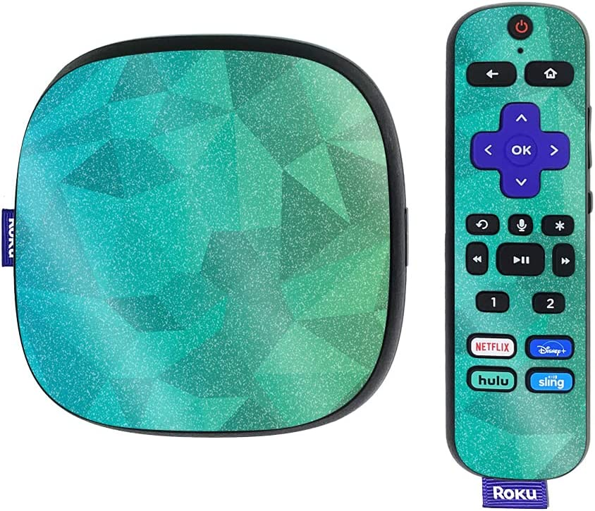 MightySkins Glossy Glitter Skin Compatible with Roku Ultra HDR 4K Streaming Media Player (2020) - Blue Green Polygon   Protective, Durable High-Gloss Glitter Finish   Easy to Apply   Made in The USA
