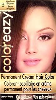 ColorEazy Permanent Cream Hair Color 3 Medium Brown - 3.47 oz,(De La Ritz)