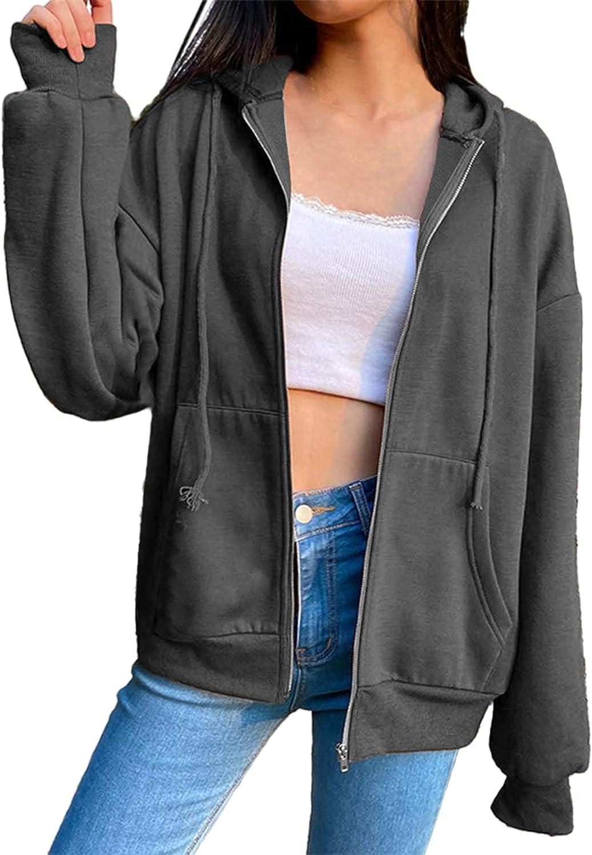 Cysincos Women's Full Zip Up Hoodies Casual Lightweight Long Sleeve Drawstring Hooded Sweatshirt Jacket Coats with Pockets