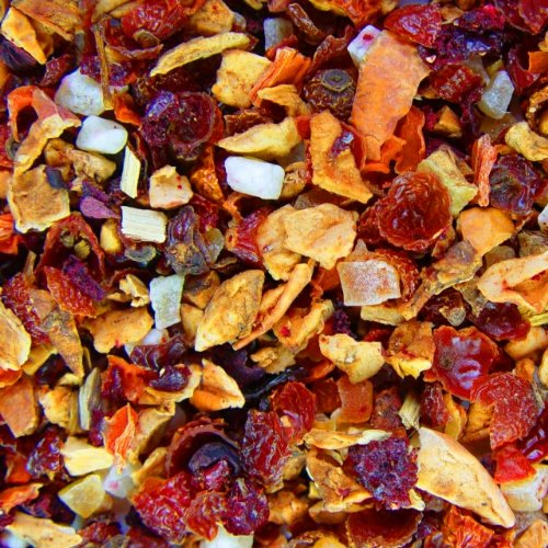Früchtetee lose Sylter Lady Apfel, Hagebutten, Karotten, Kirsch, Rote-Bete, Süßholz, Papaya, Mango Früchte Tee 500g