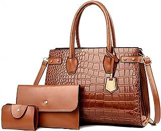 ROSCN Handtasche Damen Henkeltasche Groß Handtaschen Elegant Schultertasche Set Für Frauen Umhängetasche Taschen 3-Teilige...