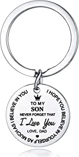 To My Son Daughter Inspirational Gift Keychain from Dad Mom Never Forget That I Love You Forever Birthday Graduation Gifts