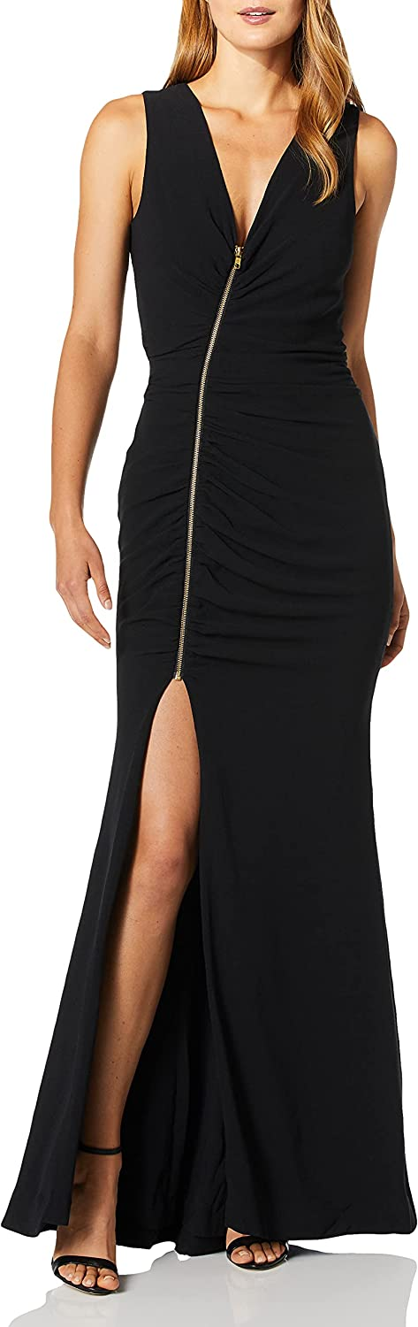 Dress the Population Women's Cher Exposed Zipper Plunging Long Gown Dress, Black, M