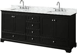 Wyndham Collection Deborah 80 Inch Double Bathroom Vanity in Dark Espresso, White Carrara Marble Countertop, Undermount Square Sinks, and No Mirrors