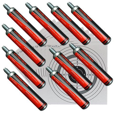 Unbekannt 10 Co2 Kapseln 88g von Umarex für Gotcha,Softair, Paintball, Co2 Gewehr + 10 ShoXx.® Shoot-Club Zielscheiben 14x14 cm mit zusätzlichen grauen Ring und 250 g/m²