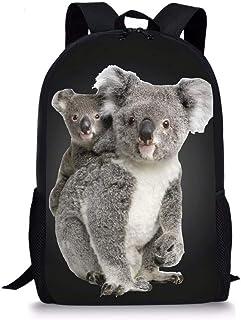 Mochila de escuela primaria para niñas y adolescentes, bolsas de libro divertidas con estampado de animales, Coala (Gris) - Nopersonality