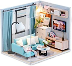 CUTEBEE Dollhouse Miniature with Furniture, DIY Dollhouse Kit Plus Dust Proof and Music Movement, 1:24 Scale Creative Room Idea (Corner of Living Room)