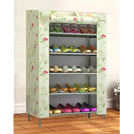 MOBITUSSION 5 Shelves Metal Collapsible Shoe Rack with Waterproof (Polyester Fabric) Cover (Polyester Fabric) (Printed Flower, 5 Shelves)