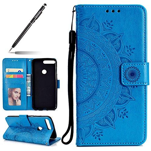 Uposao Housse Etui Huawei Honor 7C Coque en PU, Flip Cover Case Bumper Coque de Protection Pochette Portefeuille en Cuir à Rabat Clapet étui Mandala Ultra Slim Coque pour Huawei Honor 7C,Bleu