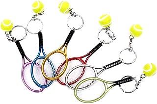 RAYNAG Set of 6 Creative Tennis Racket Keychain Key Rings Metal Tennis Ball Split Ring
