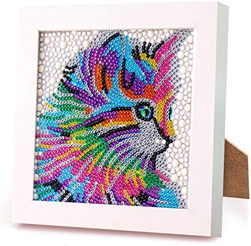 Aapxi Juego de pintura de diamante 5D completo con marco de madera, diseño de gato, pintura por números, pintura de diamantes para niños, manualidades para decoración del hogar, 18 x 18 cm