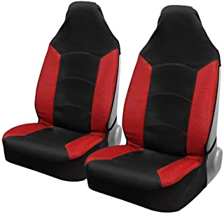 Motor Trend M292 Red Mesh Car Seat Covers for Front Seats Only – Premium High Back Automotive Seat Covers, Made for Vehicles with Integrated Fixed Headrests, Universal Fit for Car Truck Van and SUV